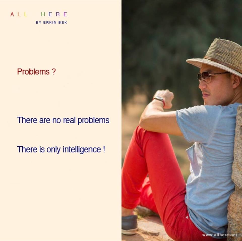 Problems? There are no real problems. There is only  intelligence! - Meditation quotes - All Here By Erkin Bek